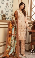 Embroidered Slub Leather Peach Printed Wool Shawl Plain Trouser