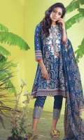 DIGITAL PRINTED EMBROIDERED LAWN SHIRT: 3.00 M DIGITAL PRINTED VOILE DUPATTA: 2.50 M DIGITAL PRINTED EMBROIDERED CAMBRIC TROUSER: 2.00 M