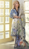 DIGITAL PRINTED LAWN SHIRT: 3.00 M DIGITAL PRINTED VOILE DUPATTA: 2.50 M DYED CAMBRIC TROUSER: 2.00 M EMBROIDERY 2 BUNCHES