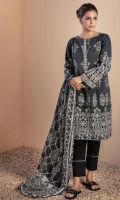 DIGITAL PRINTED LAWN SHIRT: 3.00 M DIGITAL PRINTED VOILE DUPATTA: 2.50 M DYED CAMBRIC TROUSER: 2.00 M EMBROIDERY BORDER: 1.50 M