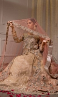 Two Tone Gown Filled With Floral Embroidery Paired  Hand Worked Lehnga And Dupatta  Net And Jamavar Shimmer Fabric  Cut-Front Open Gown With Inner And Lehnga