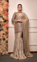 Chevron Inspired Heavily Hand Embroidered Anrakha  Zari Jamavar And Dupatta  Organza And Jamawar Fabric  Cut-Front Open Anrakha With Traditional Cut Gharara