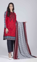 Printed Embroidered Slub Shirt: 3.00 M  Printed Cambric Dupatta: 2.50 M