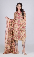 Printed Lawn Shirt: 3.00 M  Printed Cambric Trouser: 2.00 M  Printed Lawn Dupatta: 2.50 M  Embroidery: 2 Bunch