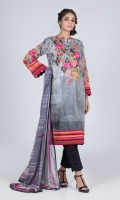 Digital Printed Embroidered Lawn Shirt: 3.00 M  Digital Printed Chiffon Dupatta: 2.50 M