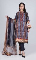 Digital Printed Lawn Shirt: 3.00 M  Dyed Cambric Trouser: 2.00 M  Digital Printed Chiffon Dupatta: 2.50 M