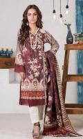 Digital Printed Khaddar Shirt: 3.00 M  Digital Printed Viscose Twill Shawl: 2.50 M