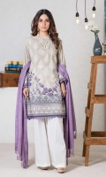 Digital Printed Karandi Shirt: 3.00 M  Dyed Viscose Twill Shawl: 2.50 M