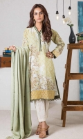 Digital Printed Karandi Shirt: 3.00 M  Dyed Viscose Twill Shawl: 2.50 M  Embroidery Border: 1.50 M