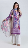 PRINTED LAWN SHIRT: 3.00 M  DIGITAL PRINTED CHIFFON DUPATTA: 2.50 M  EMBROIDERY BORDER: 1.50 M