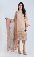 DIGITAL PRINTED LAWN SHIRT: 3.00 M  DIGITAL PRINTED CHIFFON DUPATTA: 2.50 M  EMBROIDERY BORDER: 1.50 M