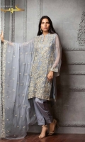 CHIFFON SHIRT FRONT: 1.00 M  CHIFFON SHIRT BACK: 0.75 M  CHIFFON SLEEVES: 0.56 M  CHIFFON DUPATTA: 2.50 M  GRIP TROUSER: 2.30 M  TROUSER PATCH: 1.00 M  COTTON SILK INNER SHIRT: 2.30 M