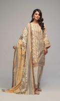 Printed Light Weight Khaddar Shirt: 3.00 M  Printed Light Weight Khaddar Dupatta: 2.50 M  Dyed Light Weight Khaddar Trouser: 2.00 M