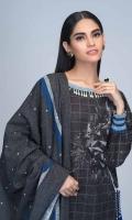 Digital Printed Light Weight Slub Khaddar Shirt: 1.75 M  Digital Printed Light Weight Slub Khaddar Dupatta: 2.50 M  Dyed Light Weight Slub Khaddar Trouser: 2.00 M