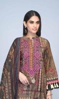 Digital Printed Light Weight Slub Khaddar Shirt: 1.75 M  Digital Printed Light Weight Slub Khaddar Dupatta: 2.50 M  Dyed Light Weight Slub Khaddar Trouser: 2.00 M  Embroidery: Neckline On Organza