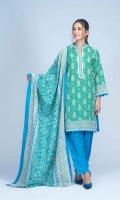 Printed Light Weight Slub Khaddar Shirt: 3.00 M  Printed Light Weight Slub Khaddar Dupatta: 2.50 M  Dyed Light Weight Slub Khaddar Trouser: 2.00 M
