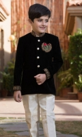 Band collar with handwork full length straight Sleeves with handwork front panal with  handwork motive coat with pants