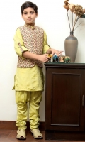 Kurta With Rollover Sleeves and Printed WaistCoat and Handwork Pleated Churidar Pants