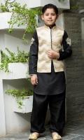 Kurta shalwar with waistcoat  handwork motifs on kurta sleeves