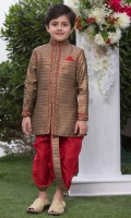 Copper Indian banarsi sherwani. Band Collar. Handworked, Raw Silk Dhoti