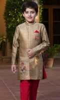 Brocade sherwani with handwork motifs on front .   Contrasting lining.    Paired with pajama.