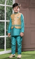 Light Blue cotton Silk Shirt and pajama with Rawsilk Waistcoat embroidery and handwork on it.