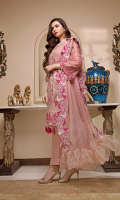 CHIFFON EMBROIDERED FRONT AND CHIFFON BACK, EMBROIDERED SLEEVES COUPLED WITH DYED RAW SILK TROUSER CHIFFON EMBROIDERED DUPATTA ACCESSORIES EMBROIDERED PATTI AND EXTRA SIDE PANEL