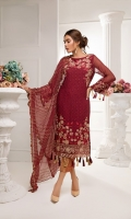 CHIFFON EMBROIDERED FRONT AND CHIFFON EMBROIDERED BACK CHIFFON SLEEVES COUPLED WITH DYED JACQUARD TROUSER CHIFFON EMBROIDERED DUPATTA ACCESSORIES EMBROIDERED PATTI AND EMBROIDERED SLEEVES PATCH SIDE PANEL
