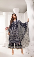 CHIFFON EMBROIDERED FRONT AND CHIFFON BACK EMBROIDERED SLEEVES COUPLED WITH DIGITAL PRINTED RAW SILK TROUSER CHIFFON EMBROIDERED DUPATTA ACCESSORIES EMBROIDERED NECK PATTI AND DAMN PATTI.