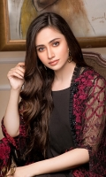 CHIFFON EMBROIDERED FRONT AND CHIFFON EMBROIDERED BACK EMBROIDERED SLEEVES COUPLED WITH DYED RAW SILK TROUSER CHIFFON EMBROIDERED DUPATTA ACCESSORIES EMBROIDERED PATTI AND EXTRA SIDE PANEL.