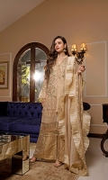 CHIFFON EMBROIDERED FRONT AND CHIFFON EMBROIDERED BACK EMBROIDERED SLEEVES COUPLED WITH DYED JACQUARD TROUSER CHIFFON EMBROIDERED DUPATTA ACCESSORIES EMBROIDERED PATTI AND EXTRA SIDE PANEL.