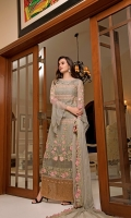 CHIFFON EMBROIDERED FRONT AND CHIFFON EMBROIDERED BACK EMBROIDERED SLEEVES COUPLED WITH DYED RAW SILK TROUSER CHIFFON EMBROIDERED DUPATTA ACCESSORIES EMBROIDERED PATTI AND EXTRA SIDE PANEL