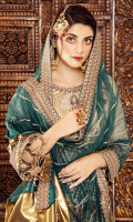 • Embroidered Chiffon front body: 1 Pc • Embroidered Chiffon back body: 1 Pc • Embroidered Chiffon front kali: 2 yard • Embroidered Chiffon back kali: 2 yard • Embroidered Chiffon sleeves: 0.75 • Embroidered Net dupatta: 2.5 yard • Jamawar trouser: 2.5 yard