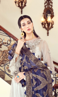 • Embroidered Chiffon front: 1 Yard • Embroidered Chiffon back: 1 Yard • Embroidered Chiffon Sleeves: 0.75 • Front back Tissue Embroidered Patti: 2 Yard • Embroidered Tissue Trouser Patch: 0.5 • Jacquard Dupatta: 2.5 yard