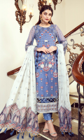 • Embroidered Chiffon front: 1 Yard • Embroidered Chiffon back: 1 Yard • Embroidered Chiffon Sleeves: 0.75 • Front back Organza Embroidered Patti: 2 Yard • Organza Embroidered Dupatta Palu: 2 Yard • Silk Embroidered Dupatta: 2.5 Yard • Viscos Trouser: 2.5 yard