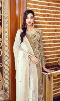 • Embroidered Chiffon front: 1 Yard • Embroidered Chiffon back: 1 Yard • Embroidered Chiffon Sleeves: 0.75 • Embroidered Front Back Organza Patti: 2 Yard • Embroidered Sleeve Organza Patti: 1 Yard • Embroidered Chiffon Dupatta: 2.5 Yard • Viscos Trouser: 2.5 Yard   06 IMPERIAL INDIGO  Rs.7,900.00 PKR   05 MANDOLIN GLAM  Rs.8,250.00 PKR   04 EMERALD ORCHID  Rs.9,500.00 PKR   02 DREAMY SKY  Rs.8,250.00 PKR