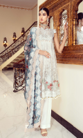 • Embroidered Organza front: 1 Yard • Embroidered Organza back: 1 Yard • Front & Back Organza Body • Embroidered Organza Sleeves: 0.75 • Front Back Embroidered Organza Patti: 2 Yard • Embroidered Sleeves Organza Patti: 1 Yard • Embroidered Chiffon Dupatta: 2.5 Yard • Embroidered Organza Trouser Patches: 2 Pcs • Viscos Trouser: 2.5 Yard