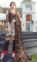• Embroidered Chiffon Front: 1 Yard • Embroidered Chiffon back: 1 Yard • Embroidered Chiffon Sleeves: 0.75 Yard • Embroidered Chiffon Dupatta: 2.75 Yard • Handmade Embellishment for Neckline Organza Patch: 1 Pc • Front Back Embroidered Organza Patti: 2 Yard • Viscos Trouser: 2.5 Yard