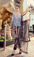 • Embroidered Net with Handmade Embellishment for Front: 1 Yard • Embroidered Net Back: 1 Yard • Embroidered Net with Handmade Embellishment for Sleeves: 0.75 Yard • Embroidered Front Back Organza Patti: 2 Yard • Embroidered sleeves organza patti: 1 yard • Embroidered net with Handmade embellishment dupatta: 2.5 yard • Viscos trouser: 2.5 yard
