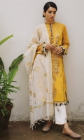 DYED EMBROIDERED JACQUARD DUPATTA (COTTON) 2.50 METERS EMBROIDERED SHIRT FRONT (LAWN) 1.20 METERS DYED SHIRT BACK (LAWN) 1.20 METERS EMBROIDERED SLEEVES (LAWN) 1.05 METERS EMBROIDERED SIDE EXTENSIONS (LAWN) 1.20 METERS PRINTED FACING (LAWN) 0.50 METERS PASTE PRINTED TROUSER (COTTON) 2.50 METERS EMBROIDERED BORDER (ORGANZA) 2.00 METERS