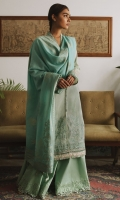 DYED JACQUARD DUPATTA (COTTON) 2.50 METERS PRINTED EMBROIDERED SHIRT FRONT (LAWN) 1.20 METERS PRINTED SHIRT BACK (LAWN) 1.20 METERS PRINTED SLEEVES (LAWN) 0.65 METERS EMBROIDERED TROUSER (COTTON) 2.50 METERS EMBROIDERED NECK BORDER (ORGANZA) 1.40 METERS EMBROIDERED SLEEVES BORDER (ORGANZA) 1.00 METER