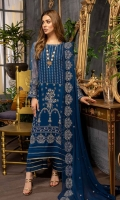 Shirt Embroidered Chiffon Front 1M Embroidered Chiffon Sleeves 26 Inches Embroidered Chiffon Back 1.4M Inner Shirt 2.25M  Trouser Raw Silk Trouser 2.5 M  Dupatta Embroidered Chiffon Dupatta 2.5M