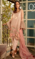 Ready to wear net fabric shirt with attached resham lawn inner Embroidered front back & sleeves with adda work Net fabric embroidered dupatta Raw silk adda work trouser.