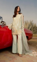 Ready to wear bamber chiffon fabric shirt with attached resham lawn inner Embroidered front back & sleeves Bamber chiffon embroidered dupatta Raw Silk trouser