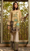 Ready to wear net fabric shirt with attached resham lawn inner Embroidered front back & sleeves with adda work Raw silk embroidered trouser, net fabric
