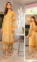 Ready To Wear Chiffon Fabric Embroidered Shirt With Attached Resham Lawn Inner And Adda Work  Raw Silk Trouser