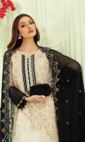 Shirt Embroidered Front Chiffon 1 m + Embroidered back 1.25 m Embroidered Front Neck 1 pcs + Embroidered Sleeves 26 Inches Embroidered Sleeves Patti 1 m + Inner Shirt 2.50 m Maximum Shirt Length: 44 Inches  Trouser  Raw Silk Trouser 2.50 m + Embroidered Trouser Patti 2.50 m Duppata Embroidered Chiffon Duppata 2.50 m
