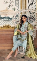 Shirt Embroidered front chiffon 1 m + Embroidered back Embroidered front chiffon 1 m + Embroidered back 1.25 m Embroidered sleeves 26 inches Trouser Raw silk Trouser 2.50 m Duppata Chiffon Duppata 2.50 m