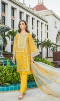 Shirt Embroidered front Chiffon 1.25 m Embroidered front galla 1 m + Back 1.25 m Embroidered Sleeves 26 inches + Inner shirt 1.50 m Embroidered Front +Back Daman Patti 4 m Trouser Raw Silk trouser 2.50 m Duppata Embroidered Chiffon Duppata 2.50 m