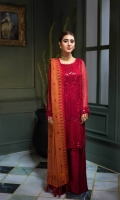 Shirt Embroidered front chiffon 1 m + Back 1.25 m Embroidered sleeves 26 inches Trouser Trouser Raw Silk 2.50 m Duppata Embroidered  Cotton Jacquard Duppata 2.50 m